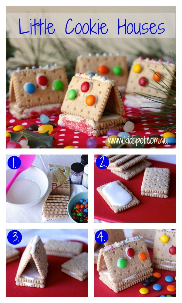 Little cookie houses recipe    Gingerbread houses are a true Christmas tradition. These little cookie houses are a simplified version that the kids will love making and eating. #kidspotkitchen