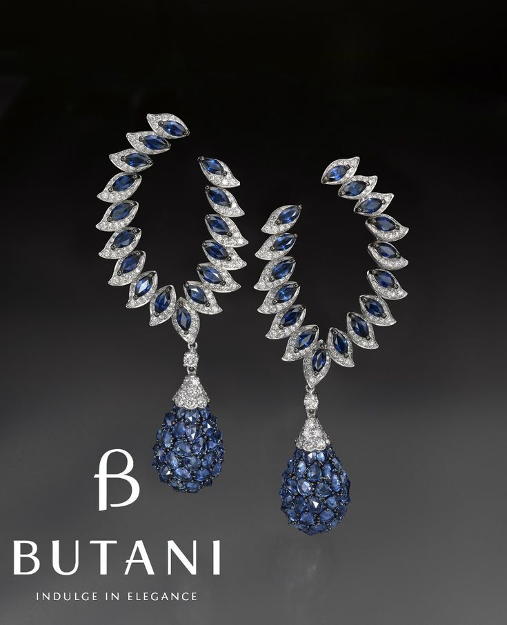 Flame inspired earrings set in Royal blue sapphires and diamonds. Butani Jewellery (=)