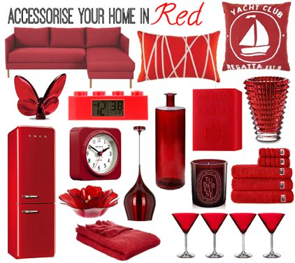 Accessorise your home in red with homewares from Diptyque, Casa Uno, Kas, Linea, Waterford, Lego, Acqua di Parma, Baccarat, Smeg, Newgate, Lexington and Habitat.