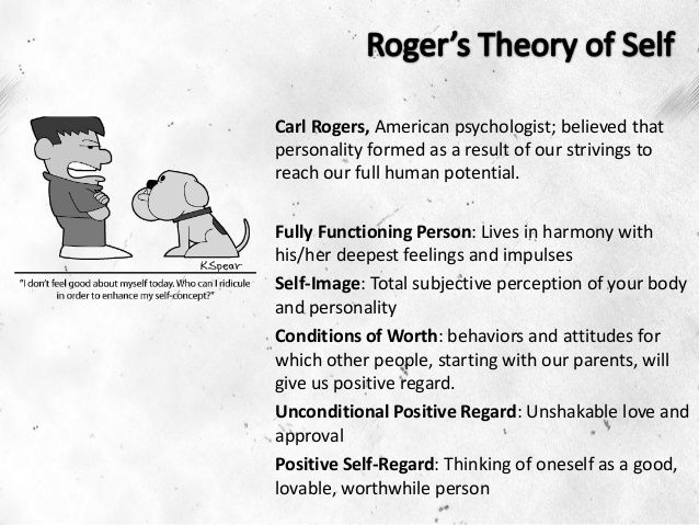 the idea of self actualization in carl rogers self theory 2 carl rogers: bio rogers plays an important historical role in the development of psychology and psychotherapy he was one of the first, if not the first, psychologist to propose a comprehensive theory about psychotherapy prior to rogers, almost all forms of therapy centered around psychiatry and.