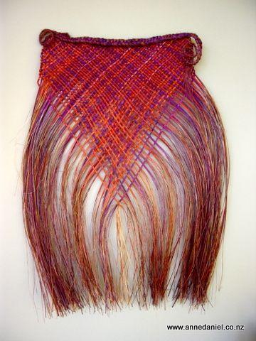 (anne lives in Hokitika  Day's End - 62cm x 58cm; Handwoven dyed harakeke (NZ flax - phormium tenax)  © Anne Daniel 2014