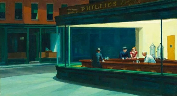 "Edward Hopper - Nighthawks...first noted this as a kid playing my ""Masterpiece"" game!"