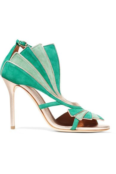 Malone Souliers - Rosie Metallic Leather-trimmed Suede Sandals - Emerald - IT37.5
