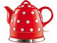 Gourmet Maxx Keramik-Wasserkocher Pünktchendekor rot-weiß