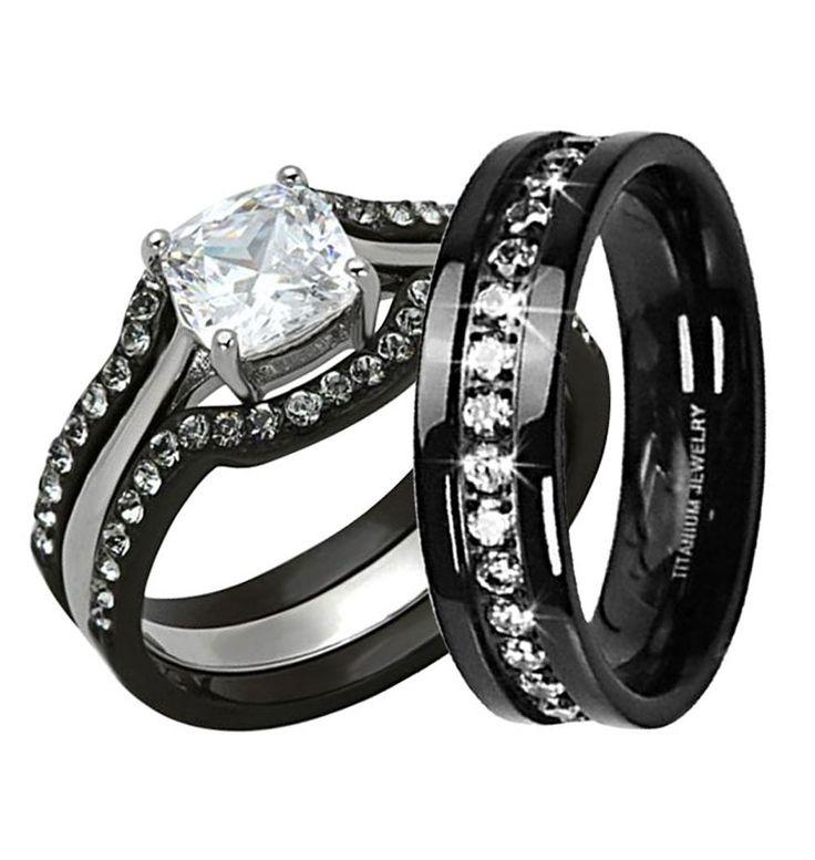 His & Hers Wedding Ring Set 1 Ct Cushion Shape Cubic Zirconia Black IP Stainless Steel Titanium 4 Pcs MA