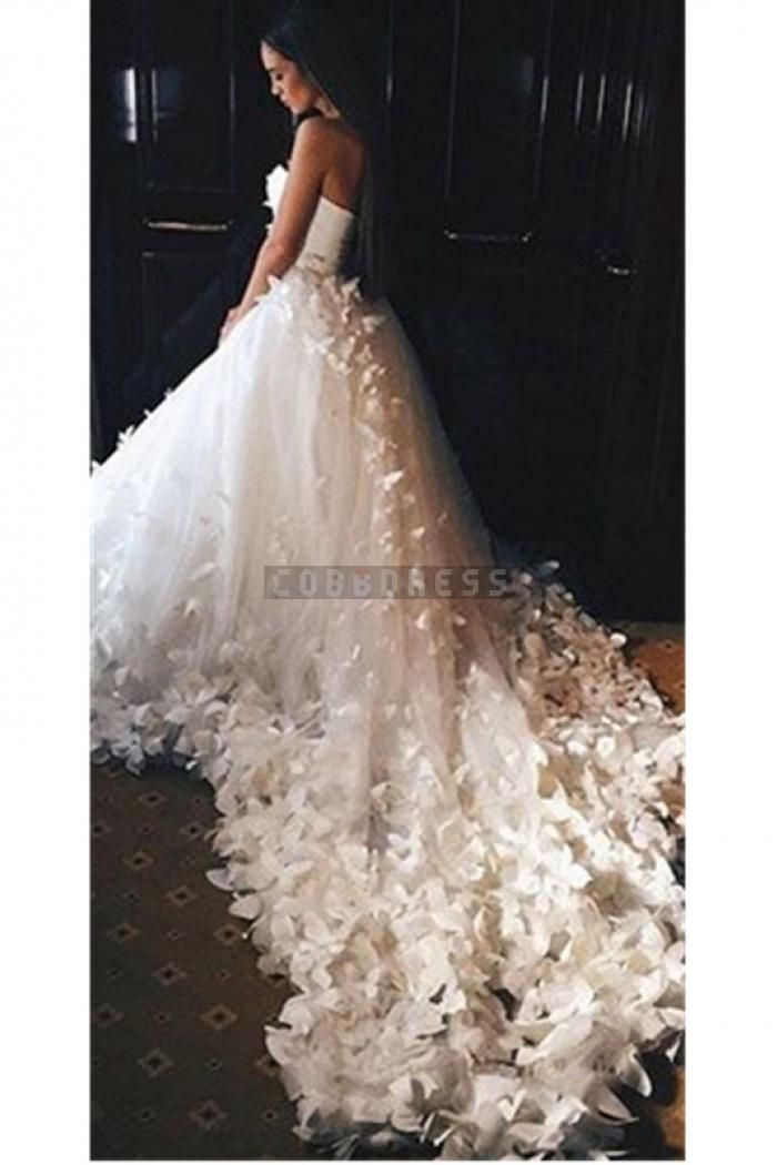 New Sweetheart Flowers Luxurious Cathedral Train Wedding Dress
