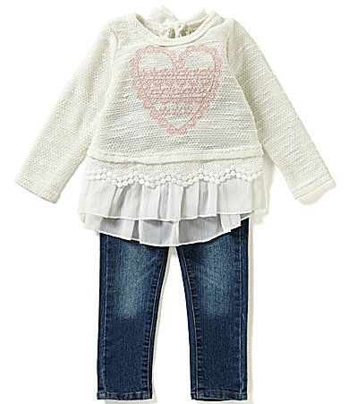 Jessica Simpson Baby Girls 1224 Months Chiffon and Lace Trim Top and Denim Jeans Set #Dillards