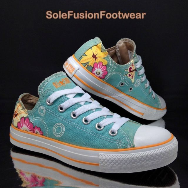 Converse Womens All Star Floral Trainers size 5 Turquoise VTG Sneakers US 7 37.5   eBay