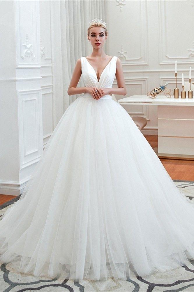 Vintage White Tulle Ball Gown Wedding Dress V Neck Corset Princess Ball Gowns Ball Gown Wedding Dress Online Wedding Dress