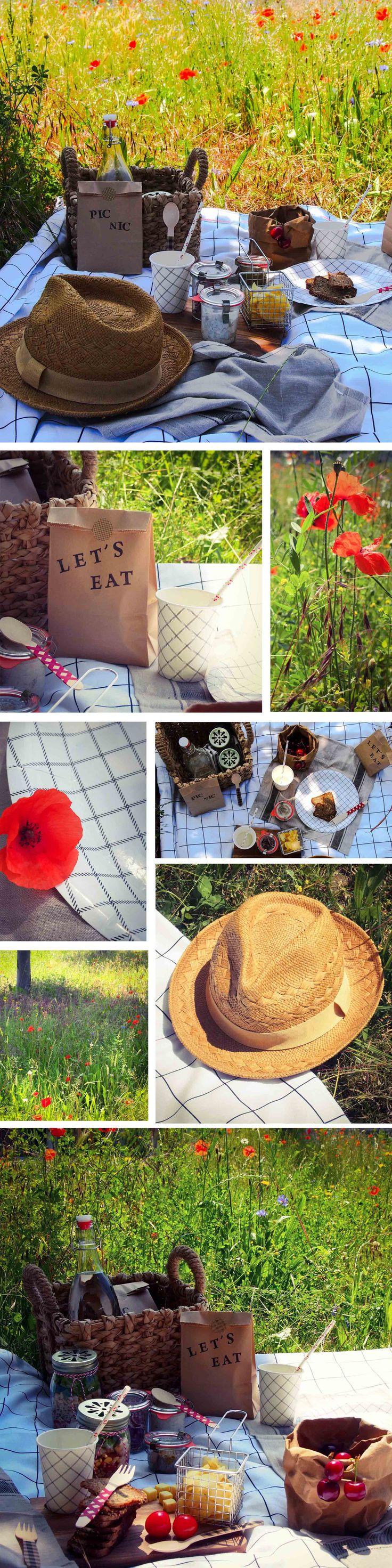 Pique nique rustique dans les champs de coquelicots. Vaisselle et accessoires à retrouver sur www.rosecaramelle.fr #picnic #piquenique #bucolique #champetre #rustique #carreaux #kraft #bois #couverts #pailles #masonjars #paniers #vaisselle