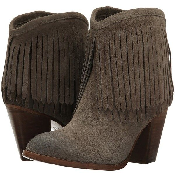 Frye Ilana Fringe Short Women's Shoes ($368) ❤ liked on Polyvore featuring shoes, boots, ankle booties, ankle boots, moccasin booties, leather moccasins, fringe moccasin boots and frye boots