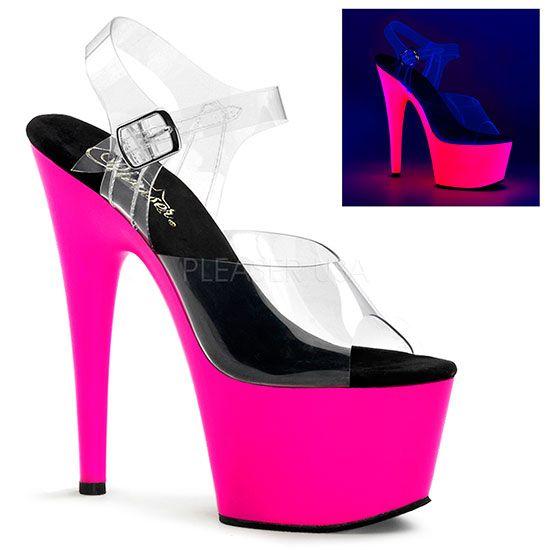Sandálias com plataformas néon, de cor rosa, que brilham no escuro com lâmpadas UV.  Fivela no tornozelo.  Altura da plataforma: 6.5cm Altura do salto: 16.5cm