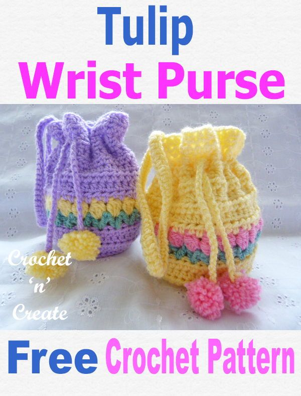 DIY Craft: Put your loose change plus your bits and bobs in this pretty free tulip wrist purse pattern, can also be used for a little girls bag. CLICK the picture for the pattern. | #crochetncreate #crochet #crochetpurse