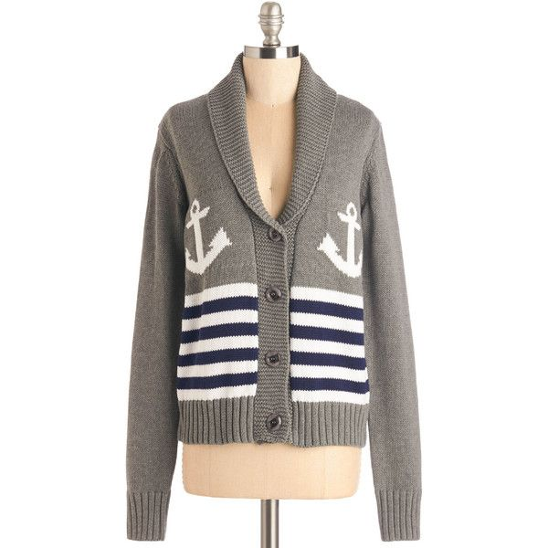Nautical Mid-length Long Sleeve Sail Mail Cardigan by ModCloth ($63) ❤ liked on Polyvore featuring tops, cardigans, sweaters, apparel, grey, button cardigan, grey cardigans, grey striped cardigan, nautical cardigan and stripe cardigans
