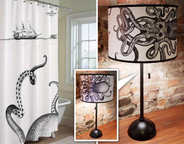 Kraken decor! Kraken fish tank! Whoo-hooooooo!: Octopuses Lamps, Decor Ideas, Dreams Houses, Fish Tanks, Design Ideas, Kraken Room, Octopuses Lights, Kraken Lights, Shower Curtains