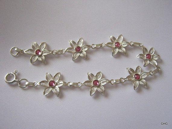 Bransoletka srebrna kwiatki rękodzieło Malta