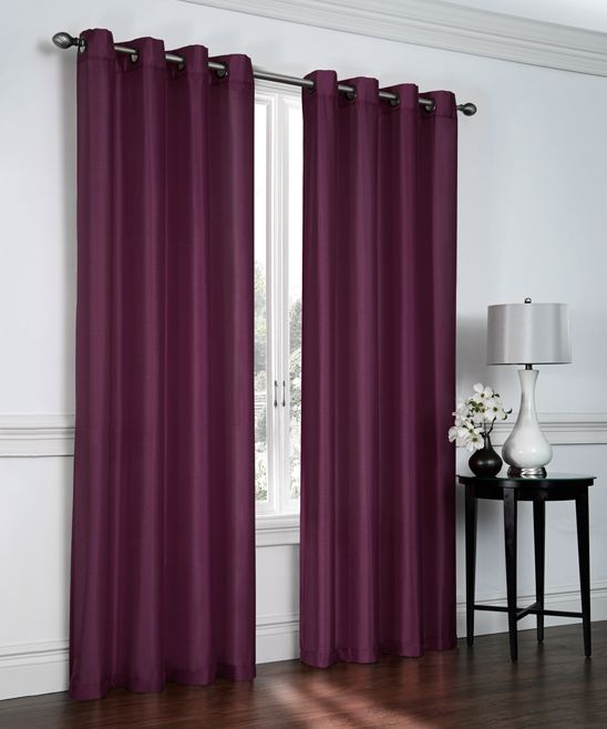 Plum Faux Silk Curtain Panel - Set of Two