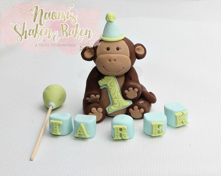 Edible Monkey Fondant Cake Topper Set 8-11cm #Birthday