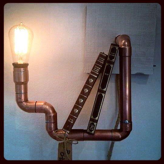 Lampara estanter a bombilla de filamentos hecha con tuber a de cobre iluminacion - Lampara estanteria ...