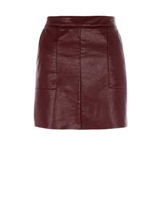 Leather-look separates are perfect for giving classic outfits an edgy feel, and this Burgundy Leather-Look A-Line Skirt brings the attitude. £14.99 #AW15edit #fashion #newlook