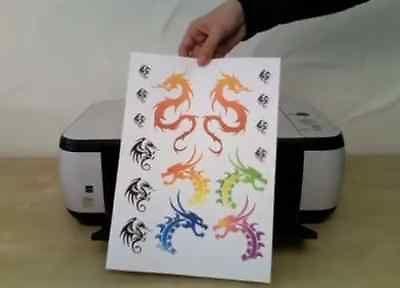 9 X Diy Temporary Tattoo Paper Adhesive Sheets Laser Printers