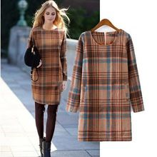 Yeni varış sonbahar ve kış giyim kadın moda ekose yün elbise, kadın yüksek kaliteli marka rahat uzun kollu sıcak elbiseler(China (Mainland))