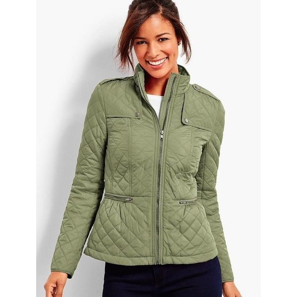 Talbots Women's Quilted Military Coat - Oprah Magazine Collection ($159) ❤ liked on Polyvore featuring outerwear, coats, talbots coats, military style coat, field coat, military coats and petite quilted coat