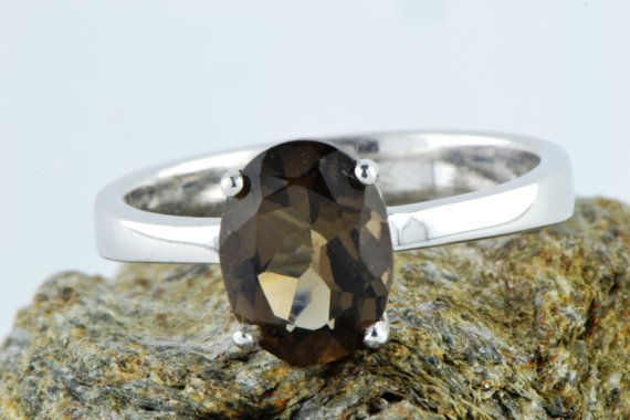 Natural Earth Mined Smoky Quartz Ring Bridal by LuckyGirlAtelier