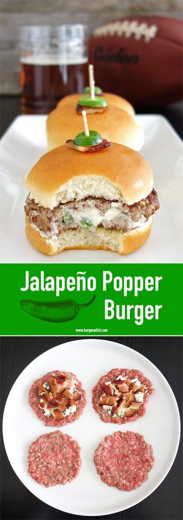 The Jalapeño Popper Burger is what you get when an awesome app meets a delicious burger. Stuffed with cream cheese, jalapeños & bacon.