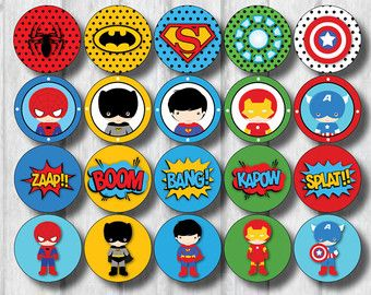 12x LEGO SUPERHERO Cupcake Toppers. 2 Inches. por RedAppleStudio