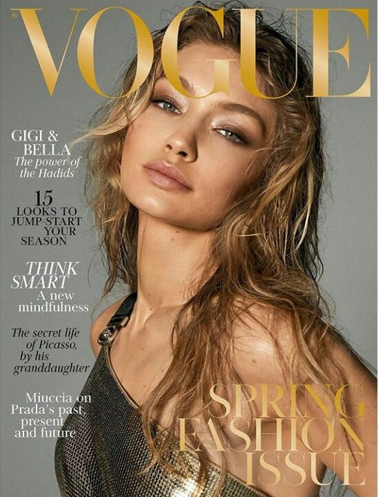 Gigi Hadid on the cover of Vogue UK March 2018