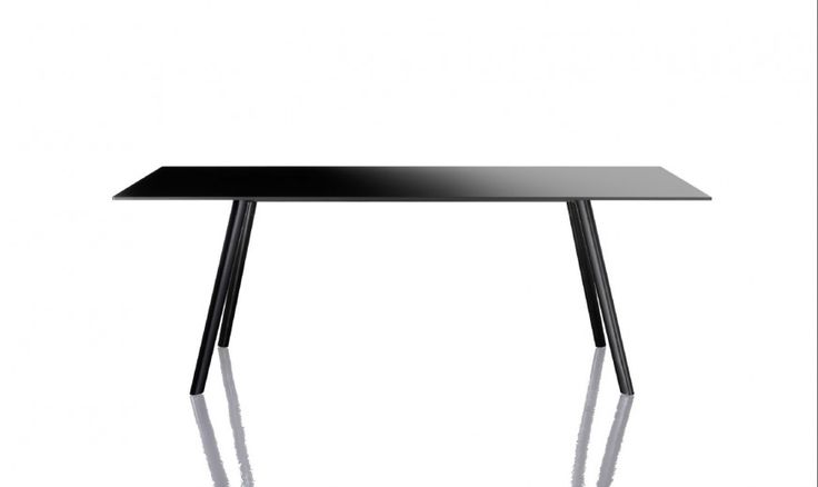 Tables. Material: legs in solid ash, natural or painted; crosspieces in steel tube painted in epoxy resin; joints in die-cast aluminium, sanded or painted in epoxy resin. Top in HPL.