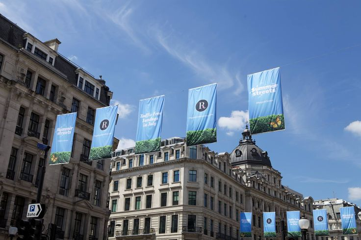 The #SummerStreets flags have arrived on #RegentStreet. Visit The Mile of Style every Sunday in July to experience a traffic free Regent Street.
