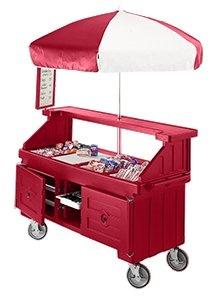 Hot Red Cambro Camcruiser CVC724 Vending Cart with Umbrella and 4 Counter Wells