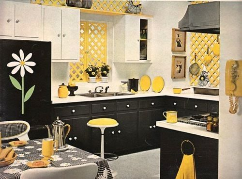my kitchen i 39 ve got the yellow walls black white cabinets now