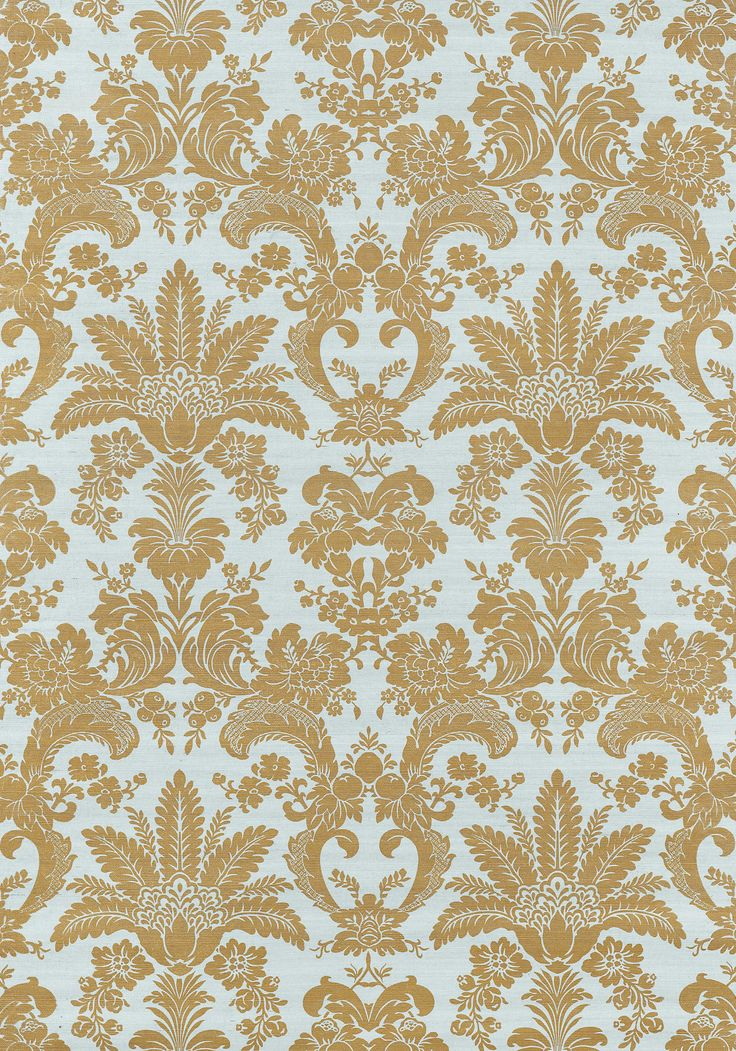 West Indies Damask Metallic Gold On Aqua T3629