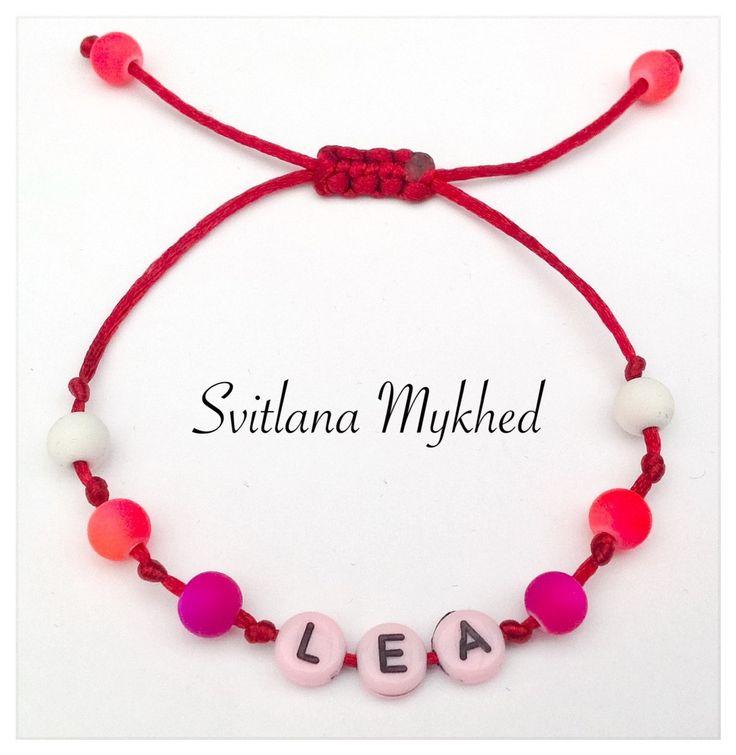 """Bracelet avec prénom """"Lea"""". Bracelet avec prénom enfant, adultes, femme, homme. : Bracelet par perles-et-couronnes"""