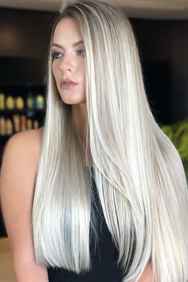Silver Long Hairstyle For Women 2019 Womens Hairstyles Hair Styles Long Hair Styles