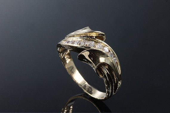 14K Gold and Diamond right hand ring by CavalloFineJewelry on Etsy, $399.00