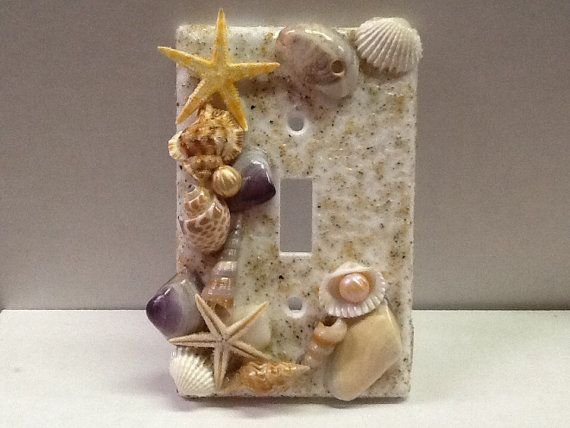 Light Switch Cover Seashells and REAL RI Beach by Theperfectpug