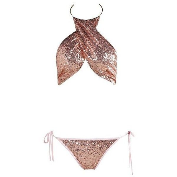Rose Gold Sequin Swimsuit ($49) ❤ liked on Polyvore featuring swimwear, one-piece swimsuits, swim suits, bikini swimsuit, sexy one piece swimsuits, swimsuit swimwear and bikini swimwear