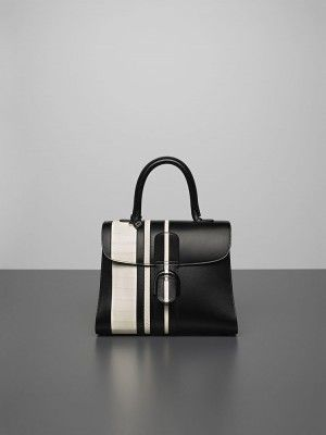 Delvaux Noir/Ivory Sporty Stripes Exotic Brillant MM Bag