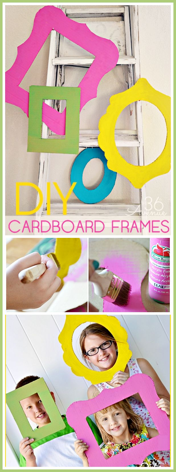 Super cute DIY Cardboard Frames. Perfect for photo props and parties! #diy #crafts