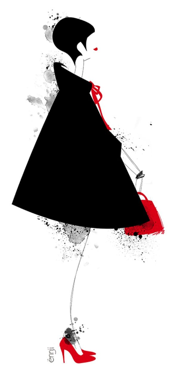 illustrations,mode,ennji,dessin,silhouette,feminines,rouge,noir,