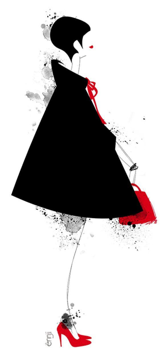 illustrations-mode-ennji-dessin-silhouette-feminines-rouge-noir-11