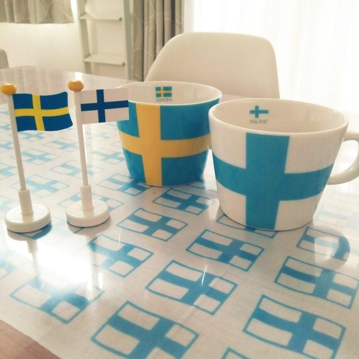 3waraiさんの、マグカップ,国旗,北欧,フィンランド,スウェーデン,机,のお部屋写真