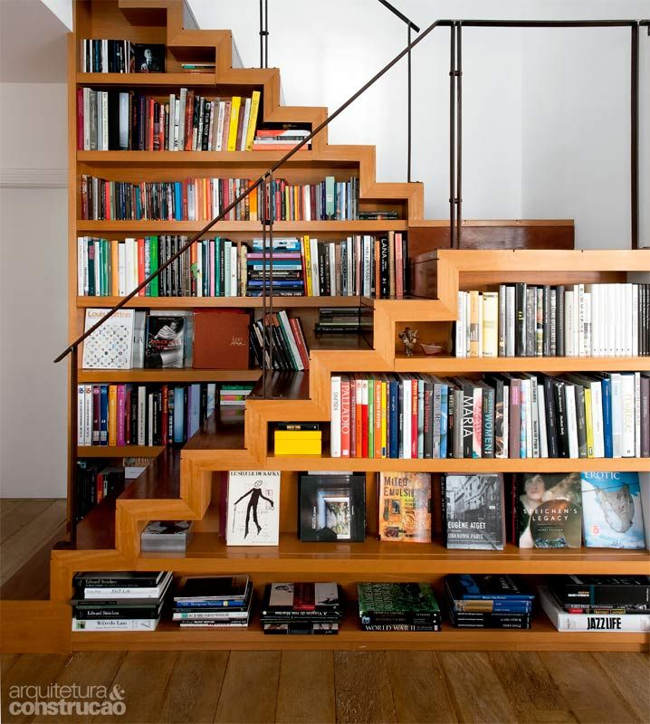 Stairs and bookshelves.