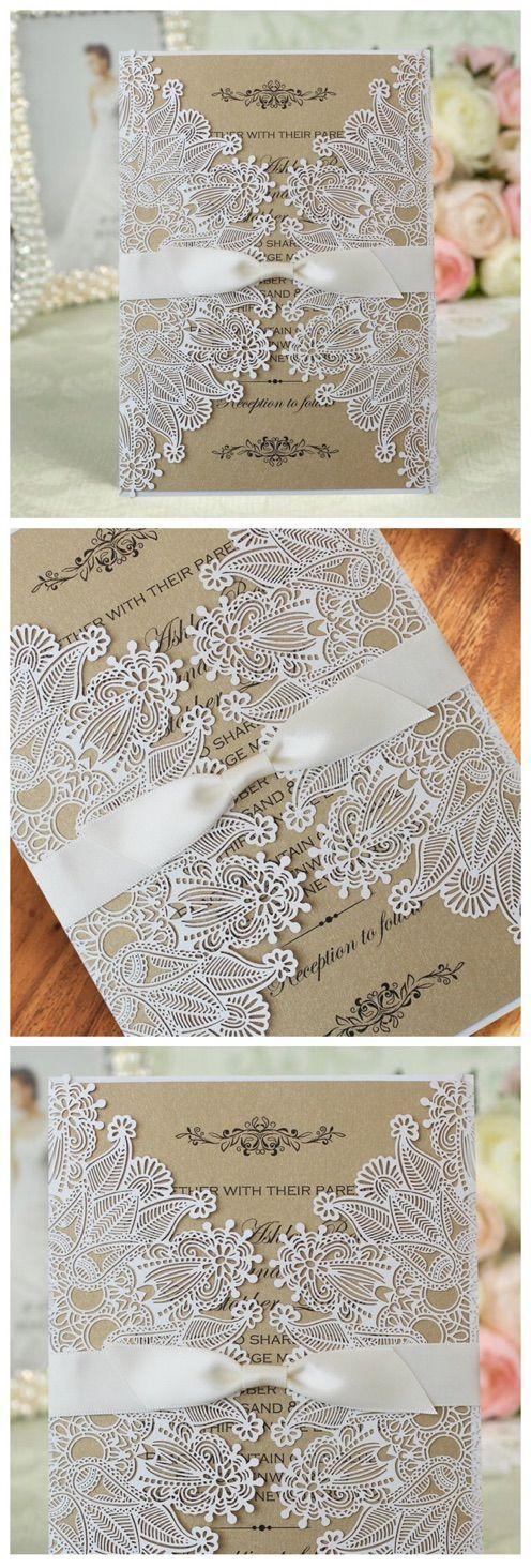 White Lace Invitation, Rustic Wedding Invitation, Unique Custom Printing Wedding Invitation Cards