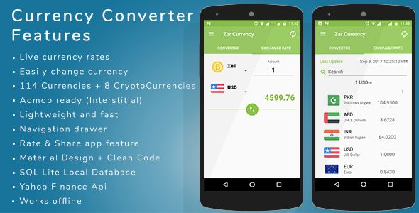 Currency Converter Android app   admob integration by zarsaeed Currency Converter app Convert Currencies online with live Forex Prices. Easily convert from one currency to another. This app uses latest currency exchange rates ¨C hourly updated exchange rates. DemoFeatures:Live currency rates E