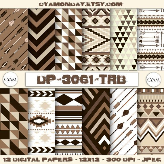 SALE Brown Beige Tribal Scrapbook Digital Paper: by cyamonday